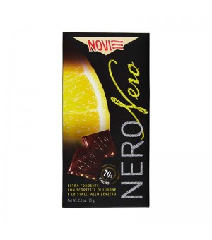 DARK CHOCOLATE WITH LEMON AND GINGER - NOVI 75GR