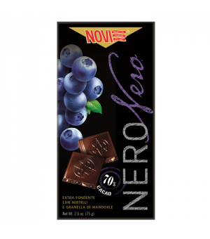 DARK CHOCOLATE WITH BLUEBERRIES AND ALMONDS - NOVI 75GR