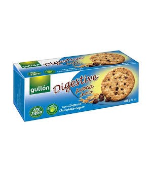 WHOLEMEAL BISCUIT WITH OATFLAKES, WHEAT AND DARK CHOCOLATE 265GR - Gullon